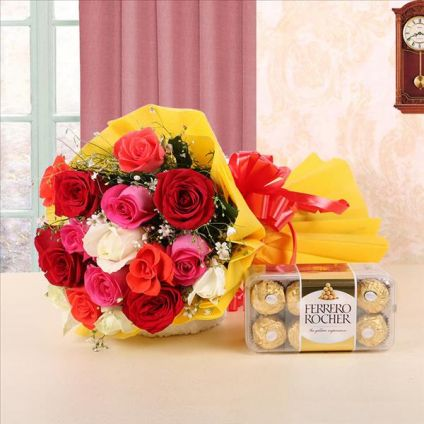 Mixed roses with ferrero rocher