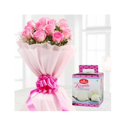 Rasgulla and Bunch of Pink Rose