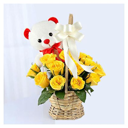 Basket of Yellow Roses with Teddy
