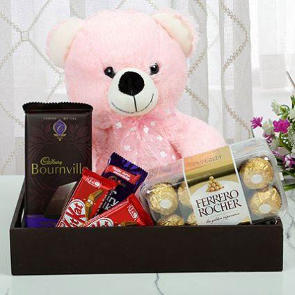 teddy bear with chocolates