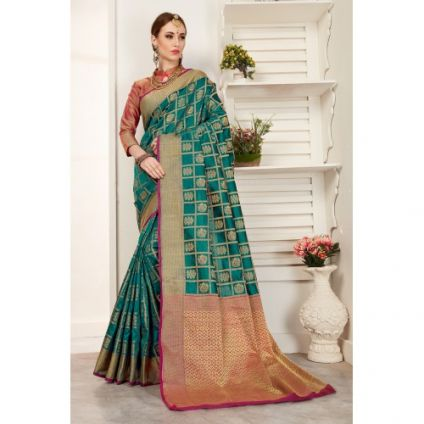 Teal Green Color Art Silk Thread Work Designer Saree