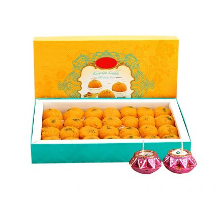 Moti Choor Laddoo with Diyas
