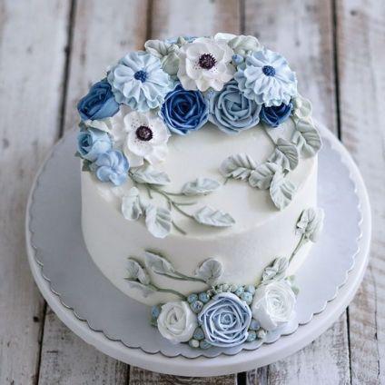 happy birthday  blue and white flower cake