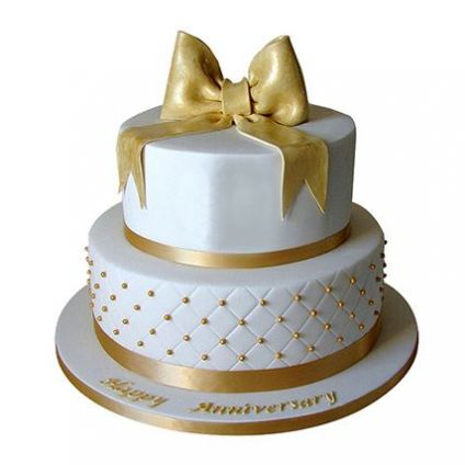 2 Tier Golden Anniversary Cake