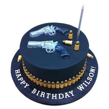 Gun birthday cake