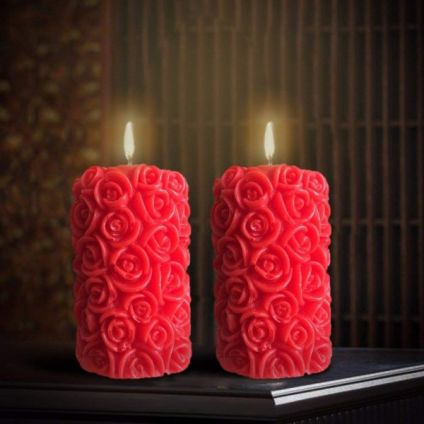Rose Scented Designer Pillar Candles