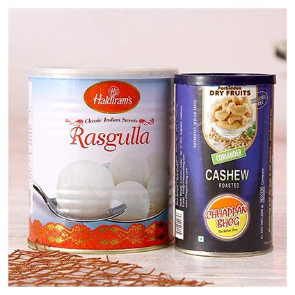 Can of Roasted Cashew Nuts with Tin Pack Rasgullas