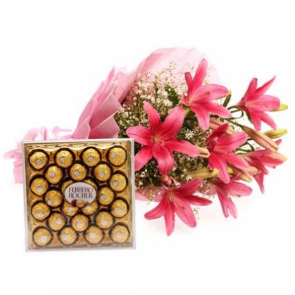 Bouquet of asiatic lilies With Chocolates