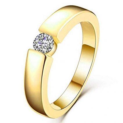 Gold Swarovski Crystal Adjustable Mens Rings
