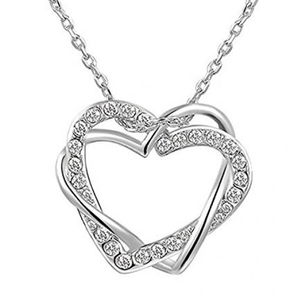 valentine day special couple Heart Pendant with Chain for Girls and Women