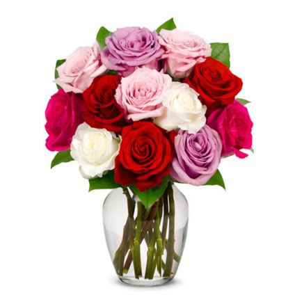 Bunch Of mixed flower with vase