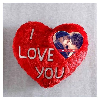 I love you personalized heart shape cushion