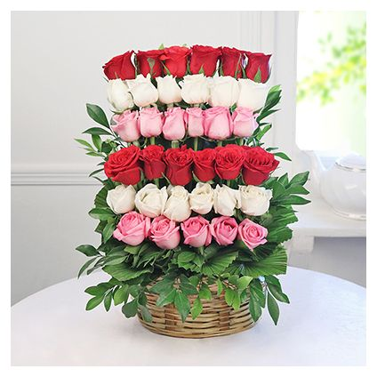 Basket of 30 Mixed Roses