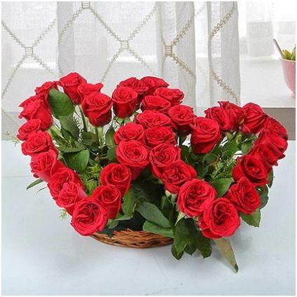 Twin Heart Shaped Flower Bouquet