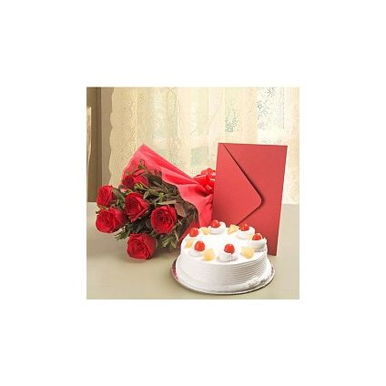 Roses, cake and greeting card