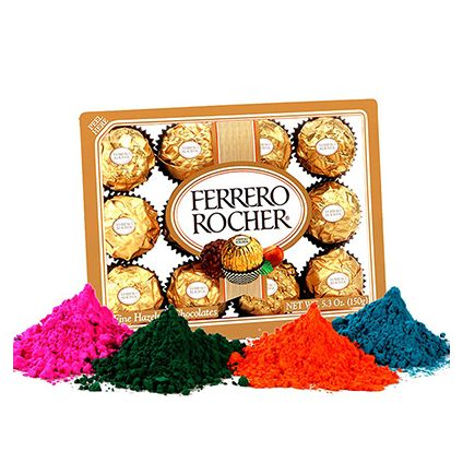 24 Pcs Ferraro Rocher with 4 shade Holi Gulal
