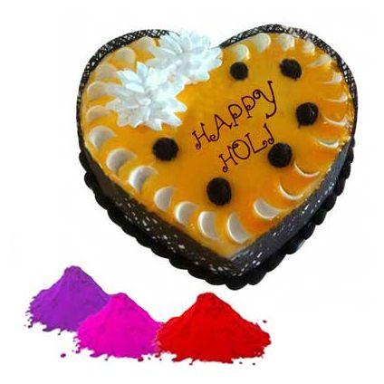 Heart shape cake with gulal