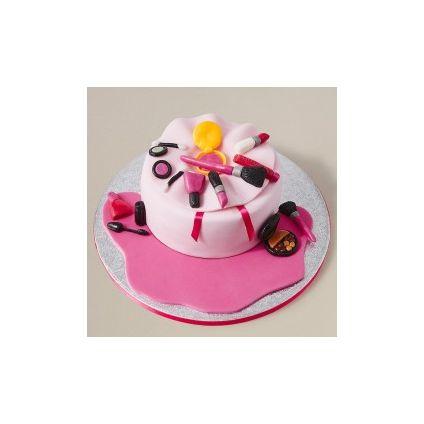 Pink fondant make up cake 2 Kg