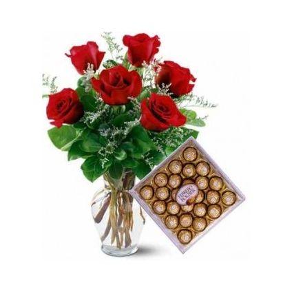 Roses and ferrero rocher with vase