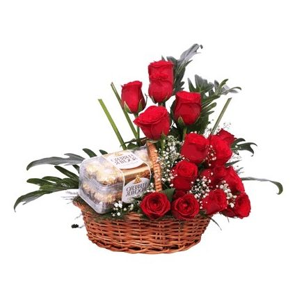 Basket of roses with ferrero rocher