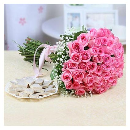 Pink Roses with Kaju Katli