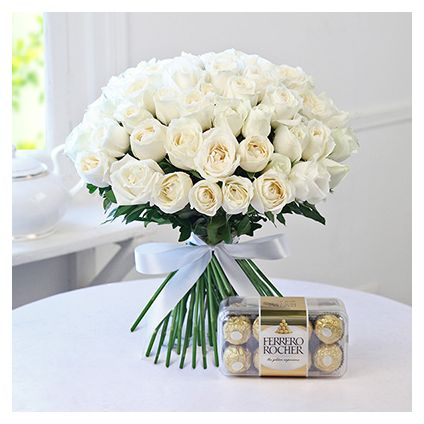 White Roses With Ferrero Rocher