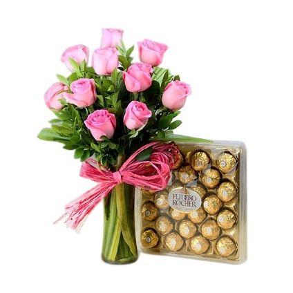 Pink Roses in vase with ferrero rocher