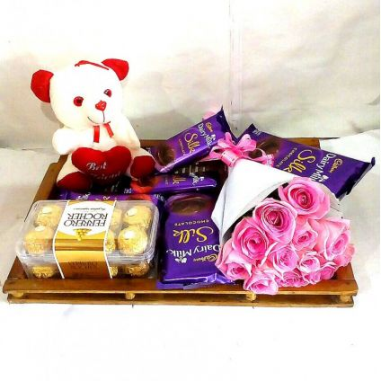 Best Combo of Chocolate Roses & Teddy