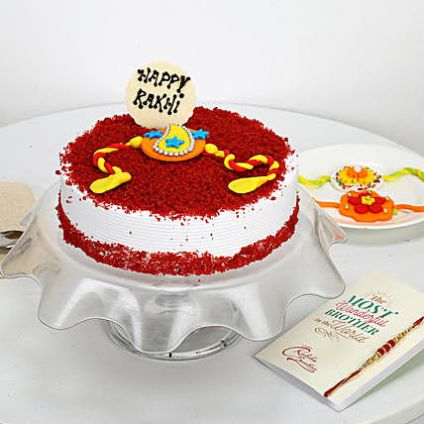 Red Velvet cake with rakhi