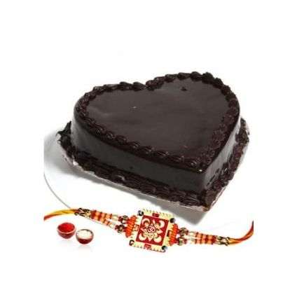 Heart shape chocolate cake with Rakhi