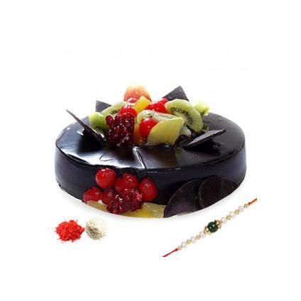 Chocolate fruits cake with rakhi