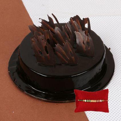 Chocolate Truffle Cake With Rakhi