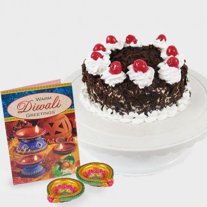Cake With Diya and Greeting Card