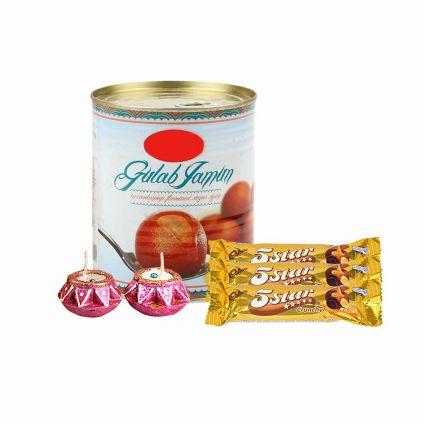 Gulab Jamun with diya and chocolates