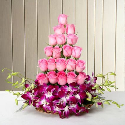 Roses With Orchids Arrangemnt