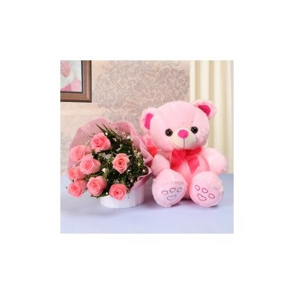 Pink Roses With Soft Toy
