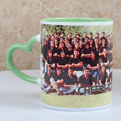 Heart Handle Green Mug