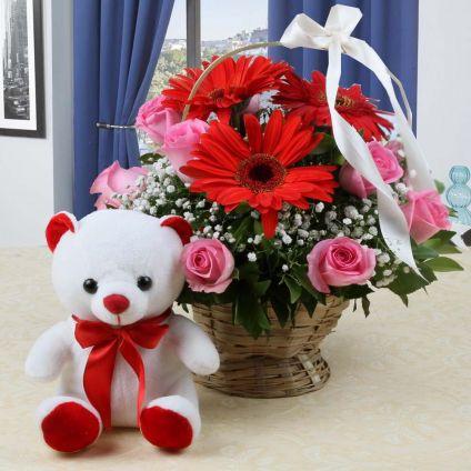 Mixed Flowers N Teddy Bear