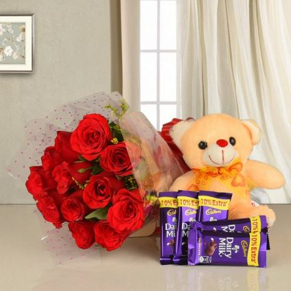 Flower with Teddy and Chococlate