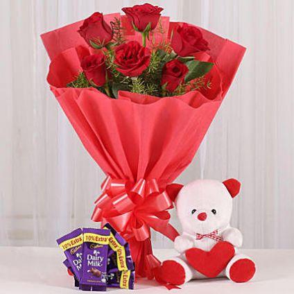 Rosy Love Affair- Teddy Bear & Chocolates