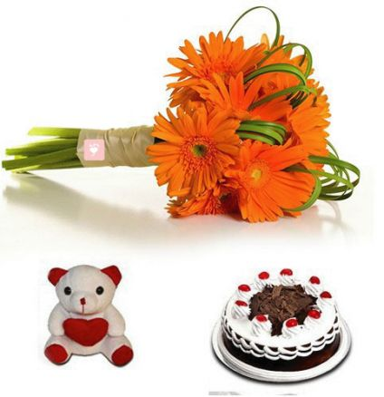 10 Orange Gerberas,500 gram Black Forest cake, 6 inch teddy bear