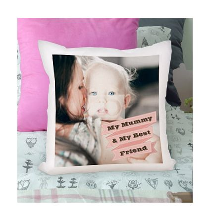 Personalised Cushion - Photo Upload Pink Banner