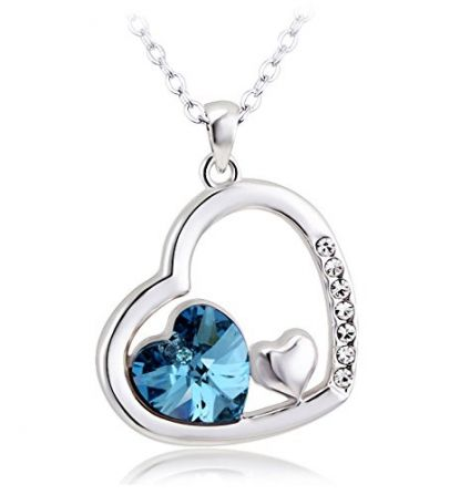 Shining Diva Platinum Plated Blue Heart Austrian Crystal Pendent Necklace