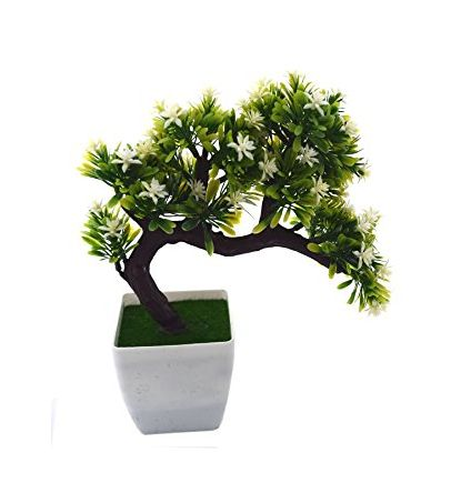 Yellow Melamine Artificial Drooping Bonsai Tree in a Vase