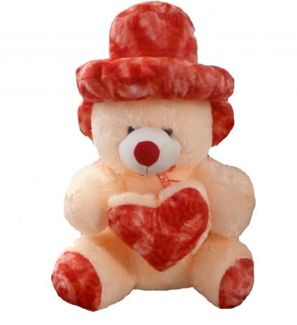 Cream and Red Colour Teddy Bear with Cap (36 inch)