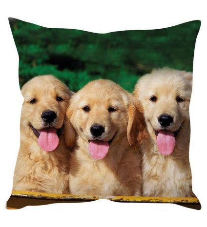 Three Puppies Art' Brown Silk Cushion