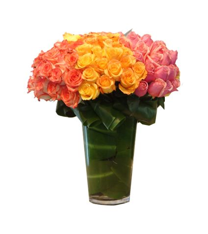 Bunch of 70 pink rose, 70 peach rose, 70 yellow rose  with vase