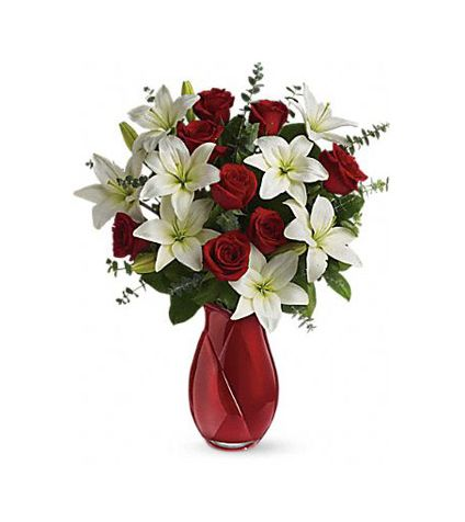 15 white lily and 14 red roses with vase