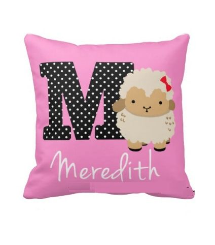 Alphbat M pink cushion