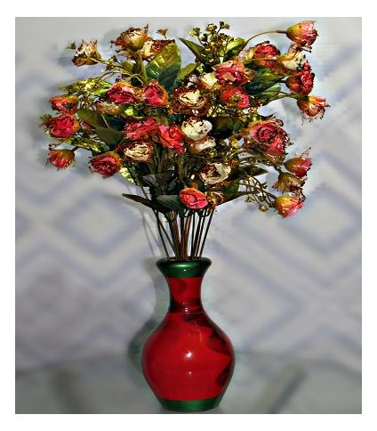 Artificial roses with vase